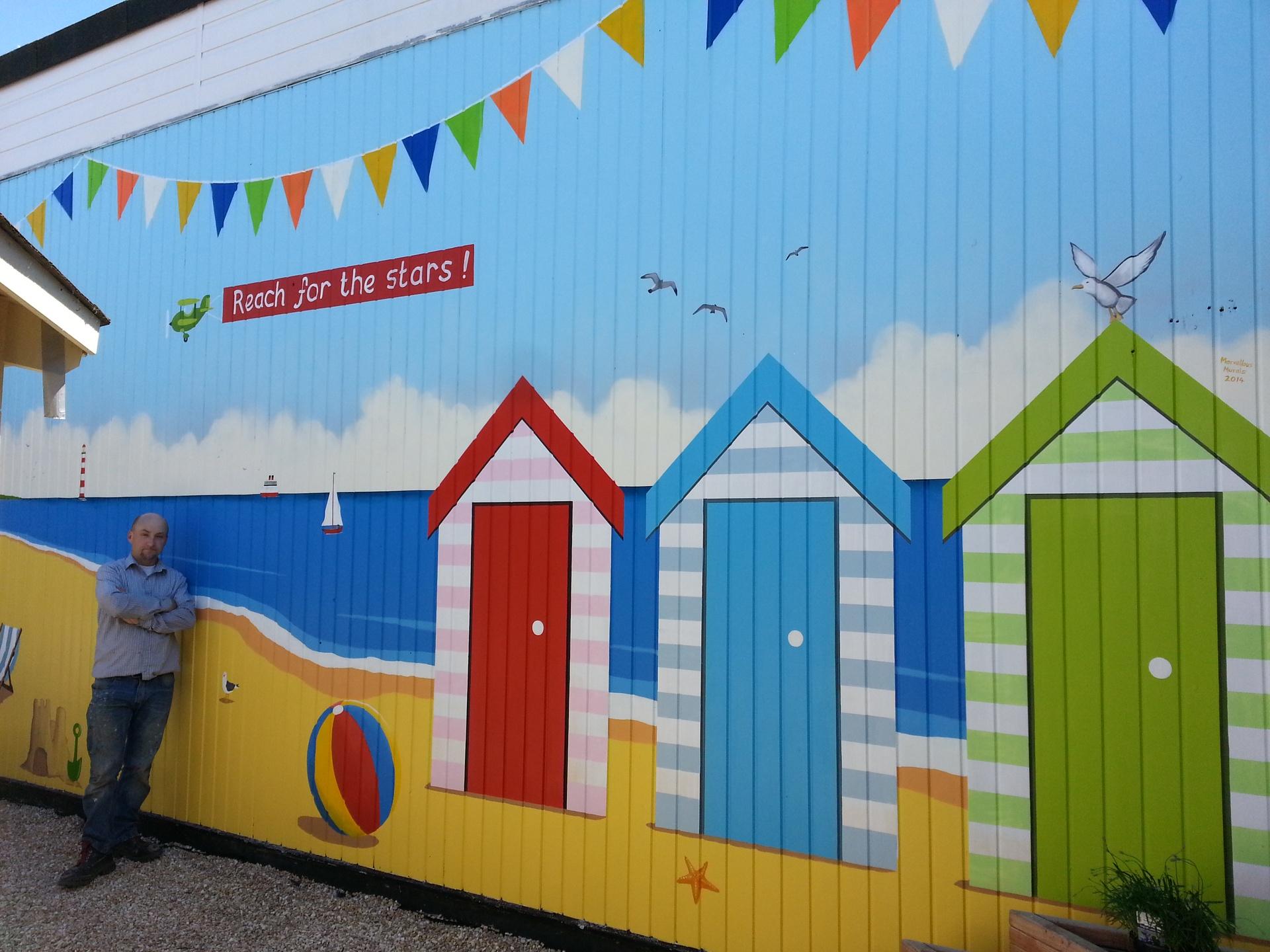 Wall murals beach scenes home design for Cartoon mural painting