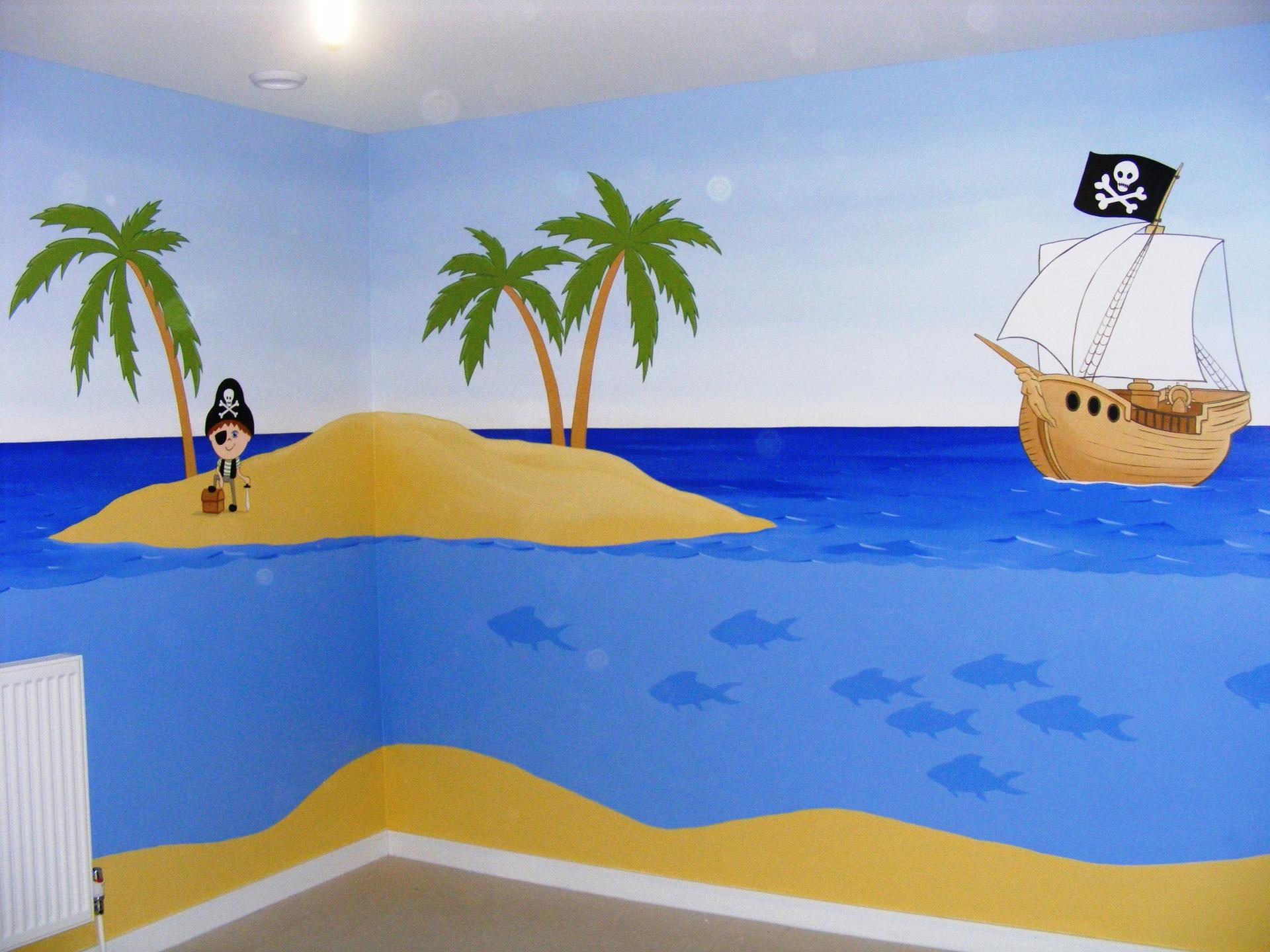 cartoon pirate mural