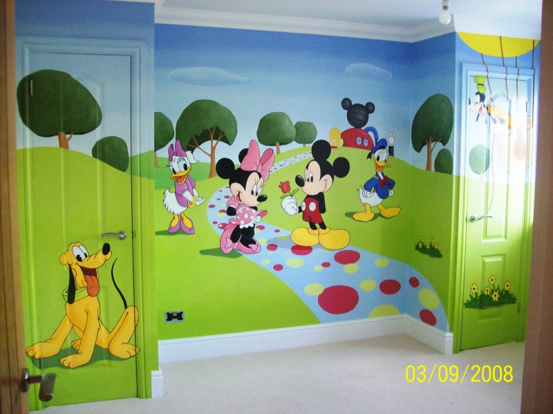 mickey and friends mural. Black Bedroom Furniture Sets. Home Design Ideas